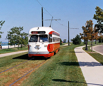 English: Kenosha Streetcar touring Harborpark.