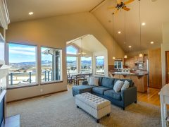 Great room with ceiling fan